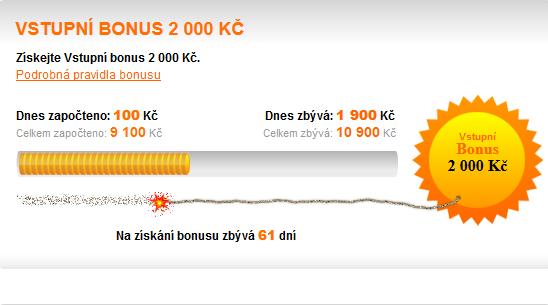 Podmínky pro užívání Chance vstupní bonus