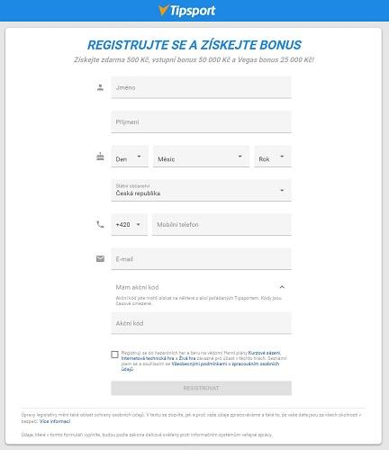 Tipsport registrace